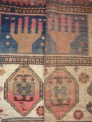 Rare type Ivory Field Caucasian Prayer rug, 45 x 58 inches. Late 19th/early 20th century village/ nomad variant of Markarian prayer rug.