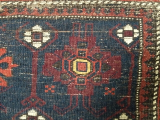 Fine 19th century Timuri(?) Baluch bag front panel: 4 Floral Guls of two types. 26 x 24 inches (66 x 61 cm). Sides re-wrapped; no other repairs.  Note two tones of  ...