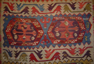 "Anatolian kilim with 8 hexagon Guls, 3'6"" x 6'3"" (110 x 195 cm).  Konya/Cumra area, 19th century.  Sides rough.  Mounted on corduroy backing."