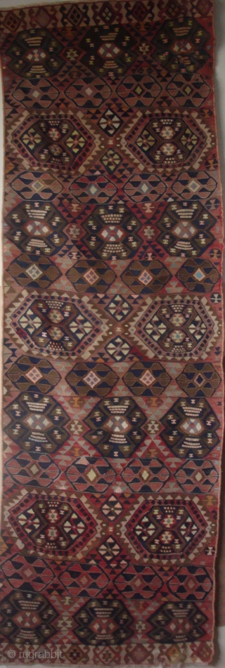 "East Anatolian kilim panel, 2'8"" x 8'1"".  Seven horizontal bands with 2 types of unusual Guls. Warp and weft wool; highlights in cotton, metallic thread, and silk (or possibly mercerized cotton).  ..."