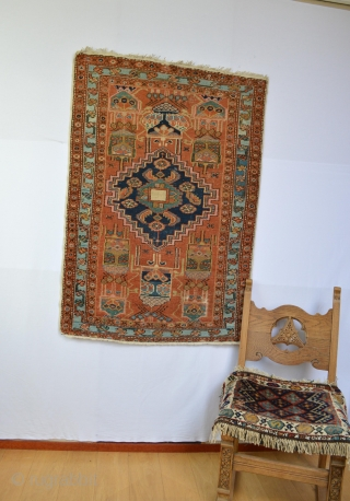 Very Rare or Unique Piece of small Heriz/ Serapi area rug  circa 1900's All Vegy colors few low spots as found top end are original low end are  secured.. finely  ...