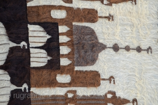 """Southeast Anatolian-early 20th century-Angora goat hair on cotton string warps-in good condition-unusual- Siirt Size:132 x 180 Cm         4'5""""x5'11"""""""