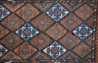 """Baluch Balisht (pillow-bag), Mushwanni tribes, south-east Persia. Complete with stripe light brown -weave back and in good pile  Size:46x75 Cm        1'7""""x2'5"""""""