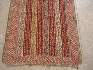 """Beautiful extra finely woven Senneh Kilim,with great design and colors,as found a cut on upper side,all 100% wool,Size 4'7""""*2'7"""".E.mail for more info and pics."""