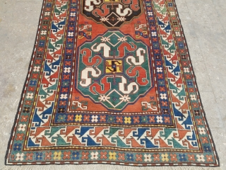 """Colorful Cloudband kazak rug with great colors and wool.Very good condition,good age and design, size 8'2""""*4'8.E.mail for more info and pics."""