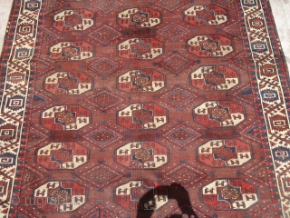 "Early rug with good age colors and beautiful border,old repairs done.Size 9'3""*5'7"".E.mail for more info and pics."