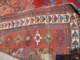 """Anatolian Prayer Rug fragment with colors and age,nice design.Size 3'9""""*3'5"""".E.mail for more info and pics."""
