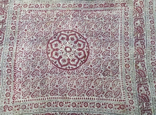 Block-Print Wall Decoration (Cotton), Probably From Sidhpur Patan, Gujarat Region of western India. India.C.1900.Its size is 125cmX125cm(20200213_142636).