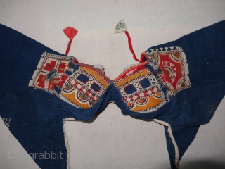 Indigo Blue (Cotton)Embroidery Backless Choli(Child) From Shekhawati Region of Rajasthan. India.Circa 1900(DSC02092 New).