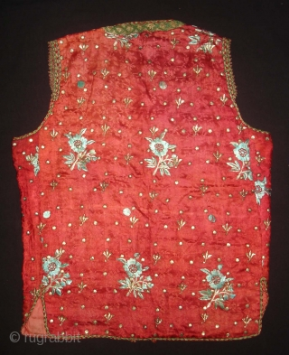 Child Waistcoat(sadri),Badla Work(Real Silver)On Gajji-Silk,Worn by Royal Bohra Muslims Family Of Sidhpur Gujarat. India.C.1900.L.40cm,W.51cm (DSC02908 New).