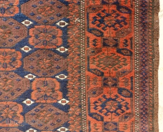 ANTIQUE BELOUCH may be Timury,  147 x 83 very fine knot, soft wool, missing the ends,