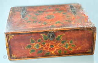 Painted wood box with flowers in original paint from India probably Rajput. 1850's -70's.