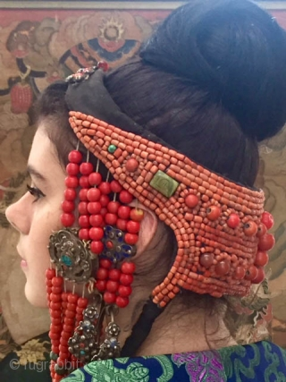 Mongolian headdress comprised of silver with enameling, Coral beading, Peking glass, turquoise , cloth. End of the 19th, early 20th c Ordos Banner