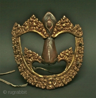 Rare gilt copper ( thickly hammered gold over copper )  Kalachakra Dance mask for use in Ritualized Tibetan practice. 18th c