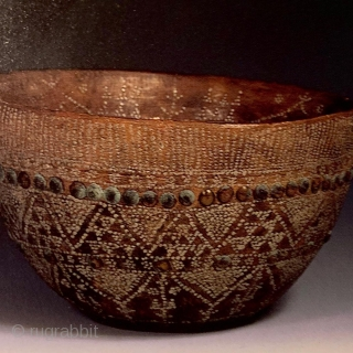 Rare lathed wood bowl with metal inlay  and beautiful patina. , Khirgiz. 19th c or earlier. Last photo is the same type in The Peter The Great Museum Leningrad. Published on  ...