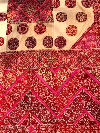 Large Hazara embroidery textile with white ground measuring 44 x 90""