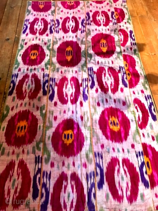 "Central Asian ikat quilt measuring 47"" x 85"""