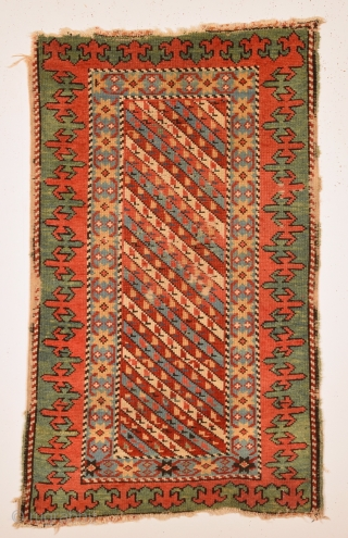 Early 19th Century Unusual Caucasian Rug It Has Small Unusual Size 63 x 108 Cm.Untouched One.Collectors Piece.