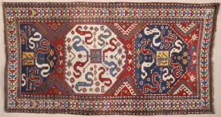 Mid. 19th Century Caucasian Cloudband Rug.It's in good condition.Size 120 x 220 Cm