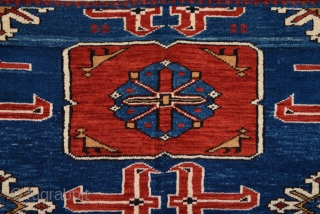 19th Century Caucasian Karagasli Rug.It Has Perfect Pile And Happy Colors Untouched One Size 115 x 150 Cm