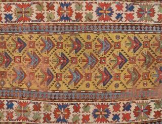 Mid.19th Century Caucasian Yellow Ground Gendje Rug Size 111 x 267 Cm