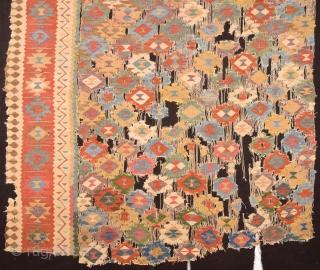Circa 1800's Unusual Persian Kilim Fragment It Has Perfect Colors And Design.Size 150 x 160 Cm