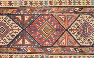 Second Half Of The 19th Century South Caucasian Probably Moghan May Shahsavan Rug.It's in Perfect condition Has Great Colors On it.Size 95 x 285 cm ı