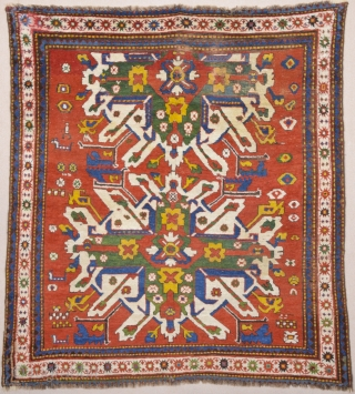 Mid 19th Century Caucasian Colorful Adler Rug.It has few old restoration on it but generally ıt's in good condition.Like square size 165 x 175 cm