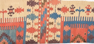 19th Century Central Anatolian Probably Konya Area Safh Kilim Fragment Size 56 x 210 Cm