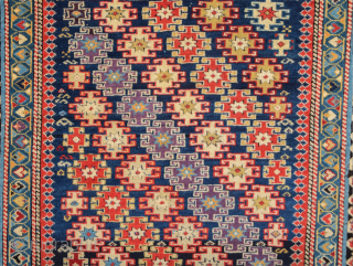 Mid 19th Century Caucasian Chi-Chi Rug.It has good pile on it and has great colors.Size 110 x 153 cm