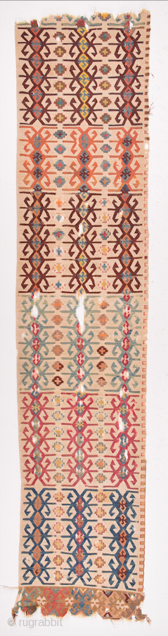 Early 19th Century Anatolian Reyhanlı Kilim Fragment Size 57 x 270 cm