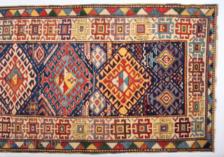 Colors !19th Century Really Colorful Unusual South Caucasian Rug It's in Perfect Condition Size 115 x 275 Cm