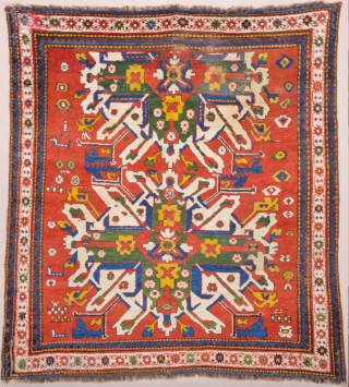 Mid 19th Century Caucasian Colorful Adler Rug.ıt's in good condition.Like square size 165 x 175 cm need little repairs.
