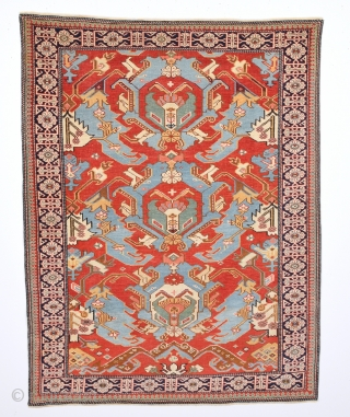 An Important 19th Century Unusual Small Shirvan Kuba Rug With Unusual Dragon Design.Small Size 96 x 124 Cm.Completely Original And Untouched One.