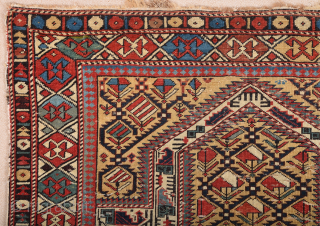 1880s Prayer Shirvan Rug Size 112 x 135 cm It's in good condition need some small repairs.