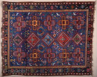 Late 19th Century Persian Khamseh Rug Excellent Condition Untouched Piece Size 160 x 200 cm