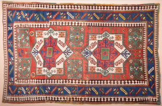 19th Century Caucasian Fahrola Rug It has few old restoration and some areas need small repairs.Size 145 x 225 cm Colorful one