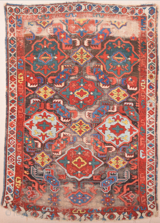 An Unusual Colorful Middle Of 19th Century Caucasian Zeichur Rug Size 100 x 145 cm