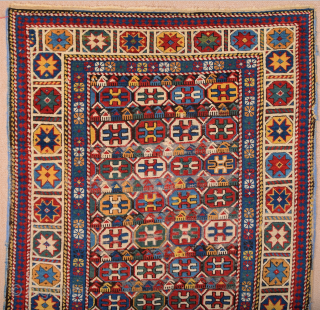 Mid 19th Century Colorful Kuba Rug It's in Good Condition Only Black Went Down Size 100 x 170 cm
