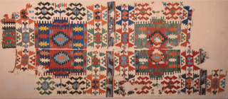 19th Century Anatolian Kuzulu Area Kilim Fragment Size 57 x 264 cm It has good colors on it.