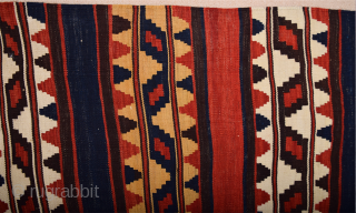 Circa 1880s Caucasian Kilim All is original It's in perfect condition All the colors are natural Size 93 x 16 cm