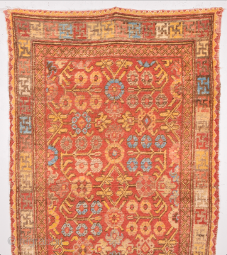 Red Field Early 19th Century Small East Turkestan Khotan Rug Size 94 x 150 cm