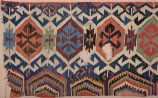 18th Century An Unusual Central Anatolian Probably Konya Area Kilim Fragment 80 x 180 cm