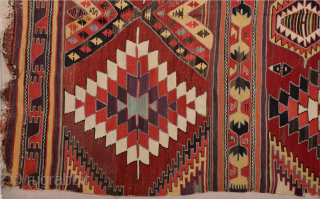 Early 19th Century Konya Karapınar Kilim Size 167 x 363 cm