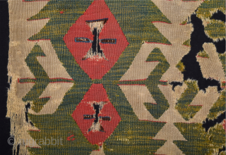 18th Century Central Anatolian Kilim Fragment Size 78 x 105 cm Cleaned and mounted professionaly already.