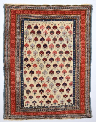 19th Century Kuba Shirvan Rug.It Has Date And Writing Something.As Found It.Size 100 x 135 Cm