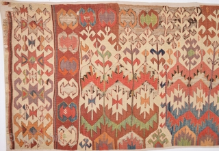 Circa 1800s Anatolian Kilim Already Mounted Professionally.It Has Great Colors Size 97 x 335 Cm