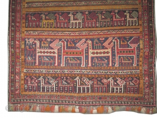 """Shirvan Caucasian horse cover, circa 1920 antique. Collector's item, Size: 147 x 121 (cm) 4' 10"""" x 4'   carpet ID: H-297  The horse cover is hand knotted, vegetable dyes, the  ..."""