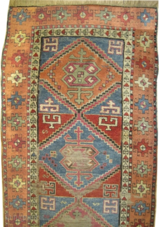 """East Anatolian rug, 19th century, antique. Collector's item. Size: 332 x 100 (cm) 10' 11"""" x 3' 3""""  carpet ID: K-3197 The black colour is oxidized, the warp and the weft threads  ..."""