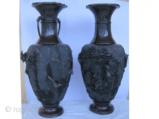 """European vases circa 1870 antique, collector's item, Size: 46 x 20 (cm) 1' 6"""" x 8""""  carpet ID: FR-4  A pair of European bronze vases, decorated with flowers and animals as  ..."""